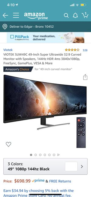VIOTEK SUW49C 49-Inch Super Ultrawide 32:9 Curved Monitor with Speakers, 144Hz HDR 4ms 3840x1080p, FreeSync, GamePlus, VESA & More for Sale in The Bronx, NY