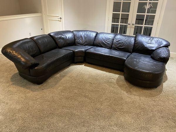 Four Piece Leather Sectional Sofa