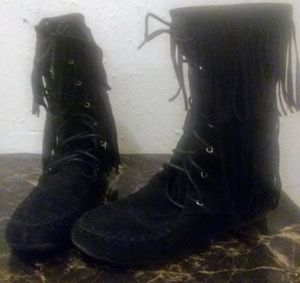Style by Gabby BLK suede Fringe boots size 10 for Sale in Tulsa, OK