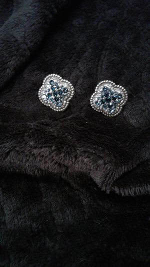 Brighton earrings. Clover shaped Sterling Silver. Blue and white stones. Beautiful sparkle. Only wore 2 times. for Sale in Lexington, SC