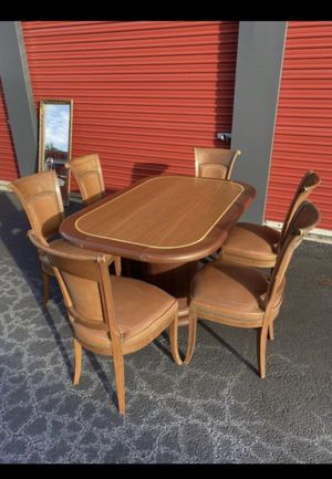 Vintage wooden table and leather chairs dining room comedor sillas mesa for Sale in Norcross, GA
