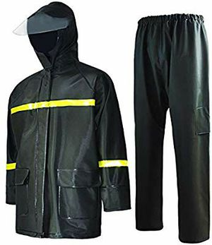 Rain Suit-Waterproof Jacket and Pants Durable Rain Gear for Men Hooded Fishing Work Wear PVC 2-Layer Size L for Sale in Altamonte Springs, FL