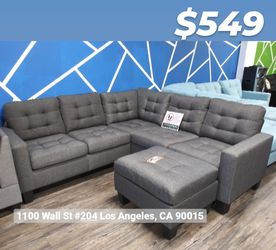 REAL SHOWROOM 😁 WE FINANCE - BLUE GREY L SHAPE COUCH SOFA SECTIONAL WITH OTTOMAN COUCHES for Sale in Los Angeles,  CA