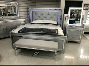 💲39 Down Payment 🍃 Allura Silver LED Panel Bedroom Set 234 for Sale in Jessup, MD