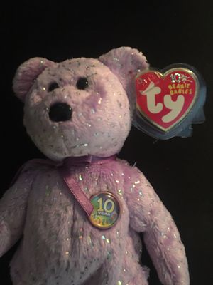 Decade the light purple bear Ty Beanie Baby with sparkles - AUTHENTIC- ORIGINAL - ERRORS for Sale in La Habra Heights, CA