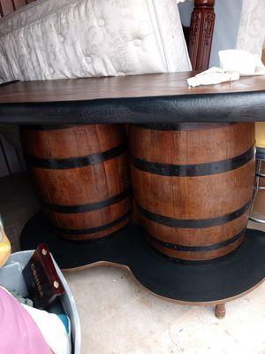 Vintage half barrel bar set with 4 matching stools for Sale in Atlanta, GA