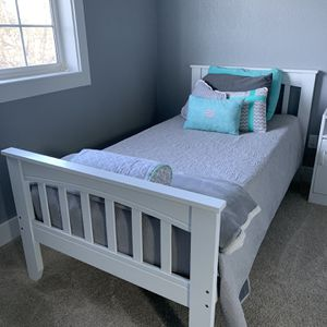 Twin Bed Frame White Wood for Sale in Olympia, WA