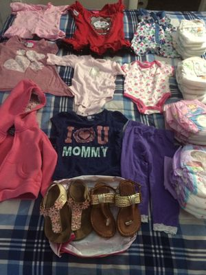 Baby Girls ítems mixes Sizes : 0-3, 12, 18 months, 2T, 3 , 4T & size 8 shoes. 6 pull-ups size 2T-3T, 6 pull-ups size 4-5T and 12 pampers brand price for Sale in Miramar, FL