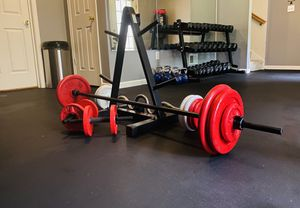 Barbell, Curl Bar, Dumbbell Weights ( 190lbs), Weight Rack for sale $480. for Sale in Saint Charles, MD