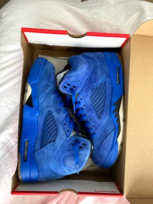Jordan blue suede 5s good condition size 8.5 for Sale in Boston, MA