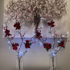 Silk Flowers Glass Vases LED lights for Sale in Reston, VA