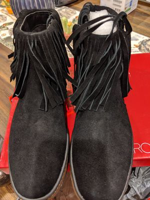 Women's brand new size 8 cute black suede fringed boots for Sale in Redondo Beach, CA