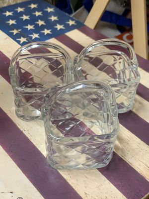 3 matching glass baskets for succulents, plants , trinkets, gifts! for Sale in Battle Ground, WA