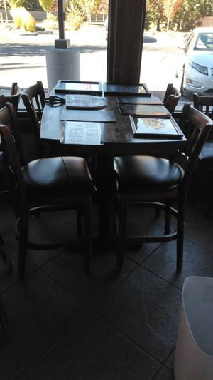 High wooden bar table with chairs for Sale in Bend, OR