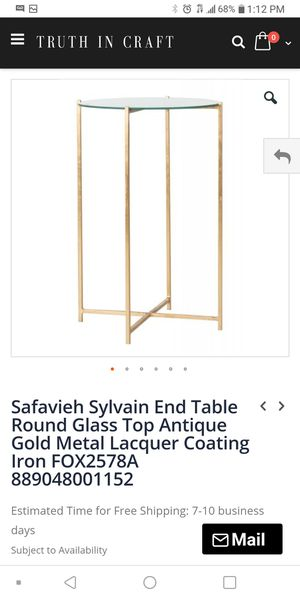 Brass glass top end table for Sale in Columbus, OH