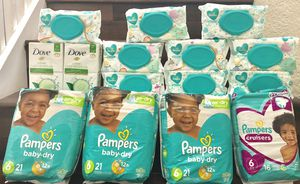 Pampers size 6 with sensitive wipes and dove bar soap bundle!! for Sale in West Palm Beach, FL