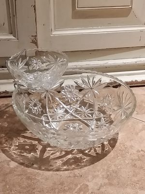 Vintage antique crystal glass chip dip bowl set kitchen serving dish for Sale in Rancho Cucamonga, CA