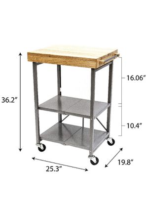 Folding Kitchen Island Cart with Butcher Block Top for Sale in Beaverton, OR