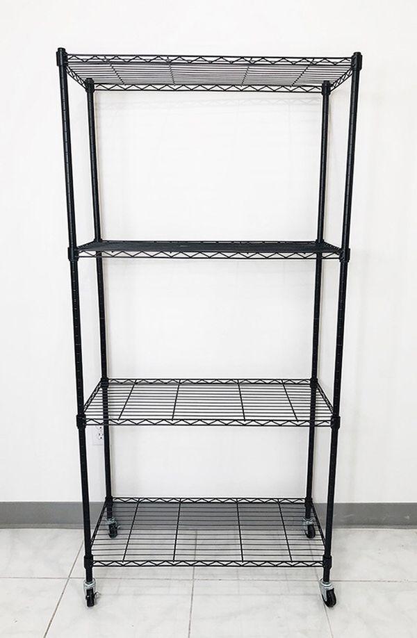 """Brand new $50 Metal 4-Shelf Shelving Storage Unit Wire Organizer Rack Adjustable w/ Wheel Casters 30x14x61"""""""