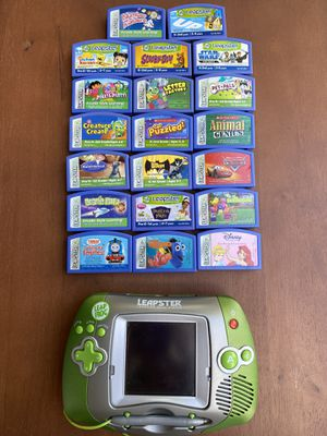 Leap Frog Leapster Handheld Learning Game System Bundle 20200 Green / Silver Tested for Sale in Santa Ana, CA