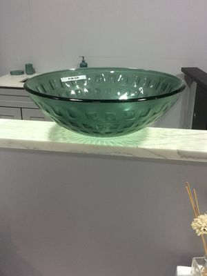 GLASS VESSEL SINK FOR BATHROOM VANITY CABINET GREEN FROSTED for Sale in Fairfax, VA