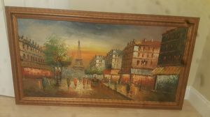 Paris eiffel tower from street view oil 24x48 painting make offer for Sale in Orlando, FL