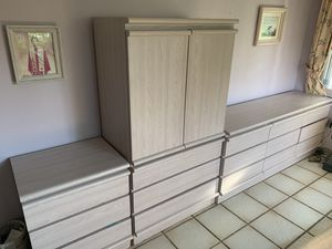 Bedroom furniture w drawers, armoir w bookshelves, desk, 2 end tables w drawers for Sale in Miami, FL