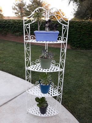 """VINTAGE WROUGHT IRON FOLDABLE CORNER ETEGERE / PLANT STAND 22""""W×15.5""""D×67""""H (PLANTS NOT INCLUDED) for Sale in Corona, CA"""