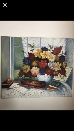 """24"""" W x 20"""" L Flowers in a vase and violin oil painting canvas for Sale in Commerce Charter Township, MI"""