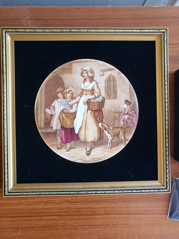 Genuine Staffordshire Ceramics Paintings (2) 9.5in x 9.5in
