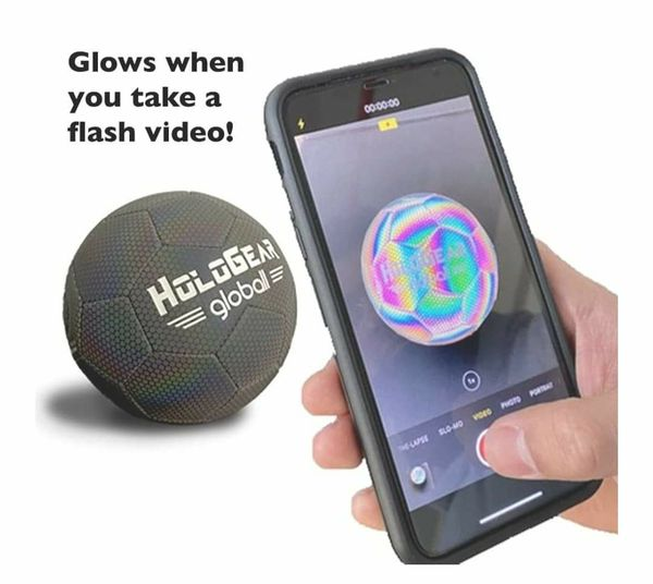 Holographic Glowing Reflective Soccer Ball - Light Up with Camera Flash, Glow in The Dark Soccer Balls - Gifts Toys for Kids and Boys