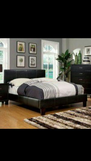 Full size leather bed with mattress and box spring deal . All New . for Sale in Flemington, NJ