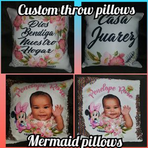 I have sequin throw pillows, blankets and tshirts for Sale in Hesperia, CA