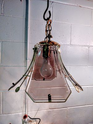 Vintage Paneled Beveled Smoked Glass Pendant Light for Sale in Pleasant Hill, IA