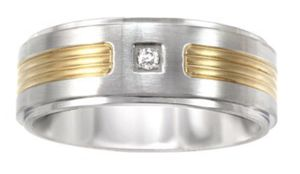 Men's Stainless Steel two tone Diamond accent Engagement/Wedding Ring size 7-14 for Sale in New York, NY