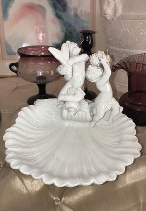 CHERUB ANGEL ON FISH LARGE BOWL DISH PORCELAIN ITALY for Sale in Winter Springs, FL