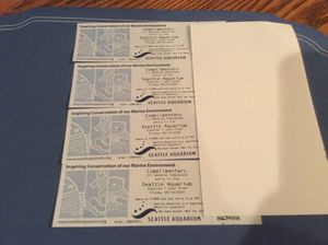 FOUR Seattle Aquarium Tickets Good till August 14th 2021, —-$25 each, regular price is $34.95 a ticket for Sale in Kent, WA