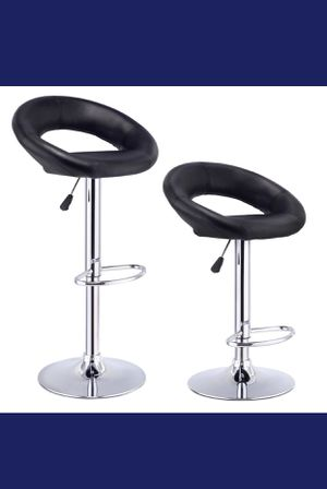 Available in Alexstrade. Com Furniture Bar Stools Modern Adjustable PU Leather Bistro Pub Chair with Chrome Plated Footrest (2 Black) for Sale in Holly Springs, NC