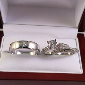 New with tag Solid 925 Sterling Silver HIS & HER WEDDING Ring trio Set size 11 and 6 / 7 or 8 $250 set OR BEST OFFER ** WE SHIP!!! 📦📫 ** for Sale in Phoenix, AZ