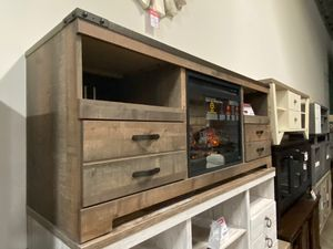 Trinell Tv Stand with Fireplace, Brown , SKU # W446-68 for Sale in Downey, CA