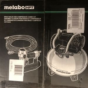 *New* Metabo HPT 6-Gal Air Compressor with Brad Nailer and Hose for Sale in Woodway, WA