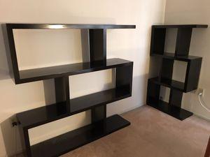 Designer geometric set of 2 solid wood bookshelves for Sale in Los Angeles, CA