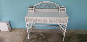 Beautiful White wicker desk with drawer and storage for pens and desk items! Can deliver! for Sale in Fort Lauderdale, FL