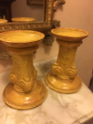 Mid century ochre glazed ornate candle holders mint for Sale in Rotonda West, FL