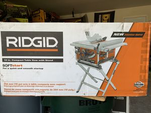 RIDGID 15 Amp Corded 10 in. Compact Table Saw with Carbide Tipped Blade and Folding X-Stand (dewalt) - NEW IN BOX for Sale in Spring, TX