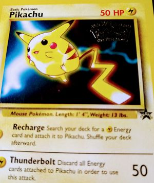 Vintage 1999 Gold Stamped Promo Red Cheeks Pikachu Pokemon Card for Sale in Waynesboro, TN