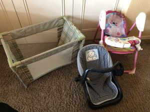 Doll Furniture - Highchair, Car seat and play pen for Sale in Glendale, AZ