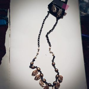 Black, gold leaf necklace with earrings for Sale in Salt Lake City, UT