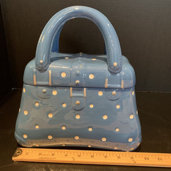 NEW Never Used Temp-Tations Blue & White Poka-Dot Old World Handbag/Purse Cookie Jar