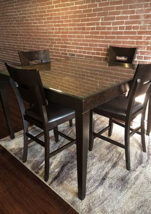 Unique Glass & Mahogany-Color Dining Set with Six Chairs for Sale in St. Louis, MO